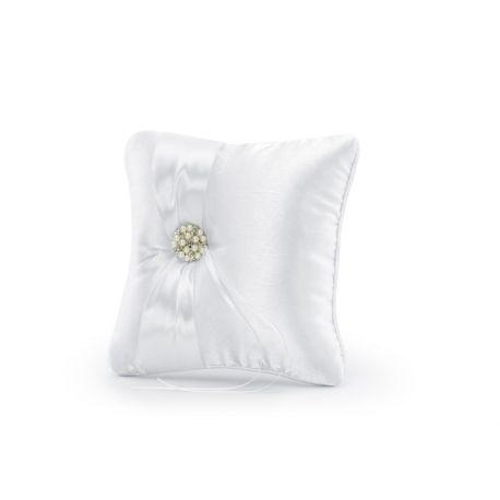 Svadobný vankúšik pod obrúčky - perlová brošňa