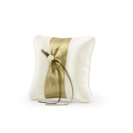 Svadobný vankúšik pod obrúčky - zlatá stuha