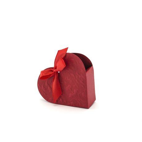 Bordová rabička na darčeky pre hostí - srdce