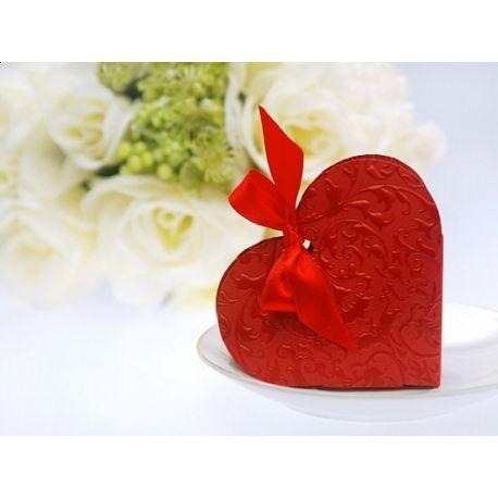 Bordová rabička na darčeky pre hostí -  červené srdce
