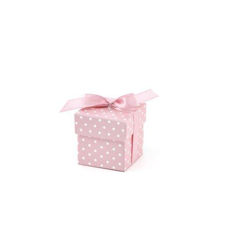 Ružová rabička na darčeky pre hostí s bodkami
