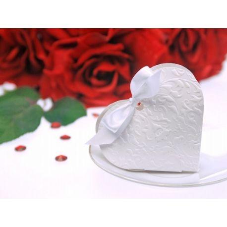 Biela krabička na darčeky pre hostí - biele srdce
