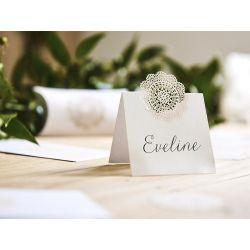 Biela menovka na stôl rozeta