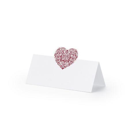 Bordová menovka na stôl - srdce