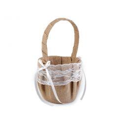Jutový košík pre družičky s krajkou