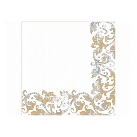 Luxusné obrúsky Festiva 40cm/50ks - biela - zlaté ornamenty