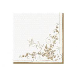 Papierové obrúsky na stôl 33cm/20ks - zlaté holubice