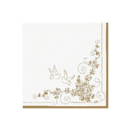 Zlaté papierové obrúsky na stôl 33cm/20ks