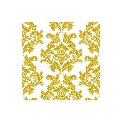 Papierové obrúsky Damask 33cm/20ks - zlaté ornamenty