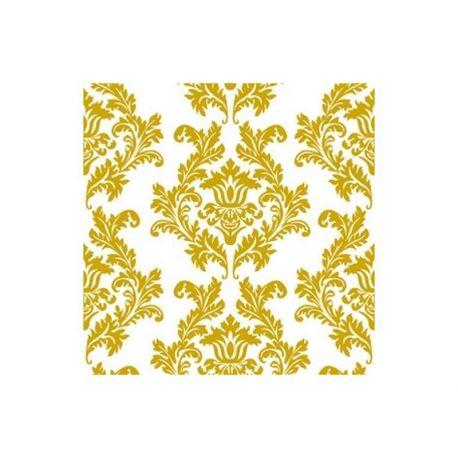 Zlaté papierové obrúsky Damask 33cm/20ks