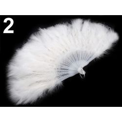Luxusný biely vejár z páperia - 56cm