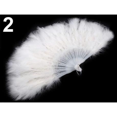 Biely vejár z páperia - 56cm