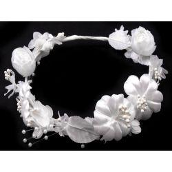 Čelenka s kvetinami saténová biela