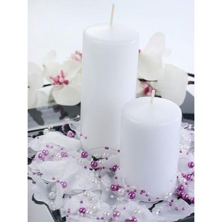 Biela sviečka valec - matná 50/100