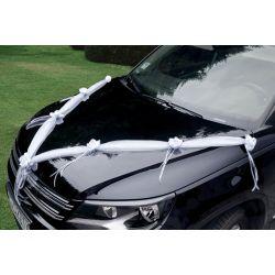 Stuha na svadobné auto - biela