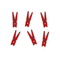 Drevené dekoračné štipce červené