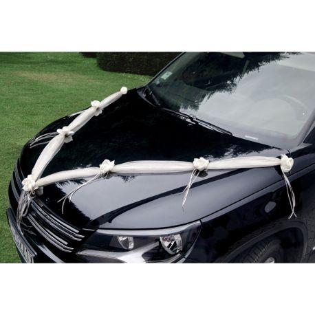 Stuha na svadobné auto - krémová