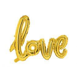 Zlatý metalický balón - love