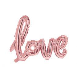 Rose gold metalický balón - love