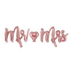 Rose gold metalický balón - Mr and Mrs