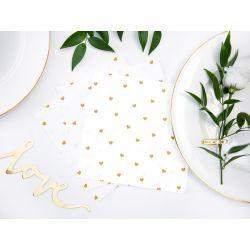 Biele papierové obrúsky so zlatými srdiečkami - Standard 33cm/20ks
