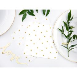 Biele papierové obrúsky so srdiečkami - Standard 33cm/20ks