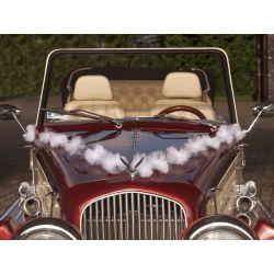 Girlanda s pompoms na svadobné auto - biela
