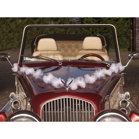 Girlanda na svadobné auto - biela