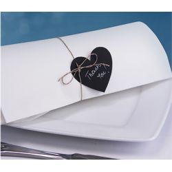 Čierna menovka na stôl - srdce so špagátikom