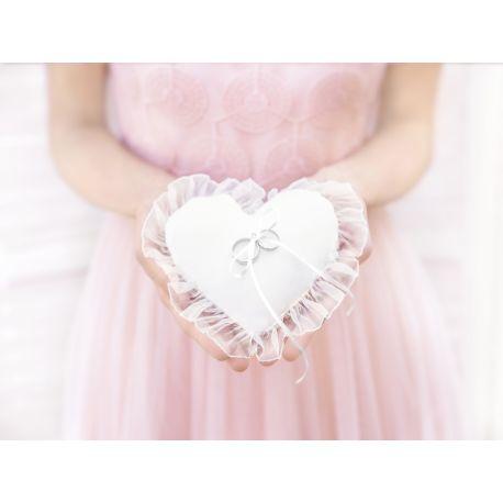 Svadobný vankúšik pod obrúčky v tvare srdca