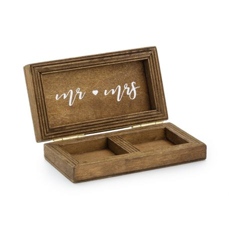 Svadobná krabička na obrúčky - drevená