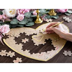 Svadobná kniha hostí - puzzle srdiečko