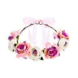 Čelenka do vlasov s ružovo-bielymi kvetinami