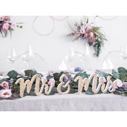 Mr & Mrs drevená dekorácia - zlatá