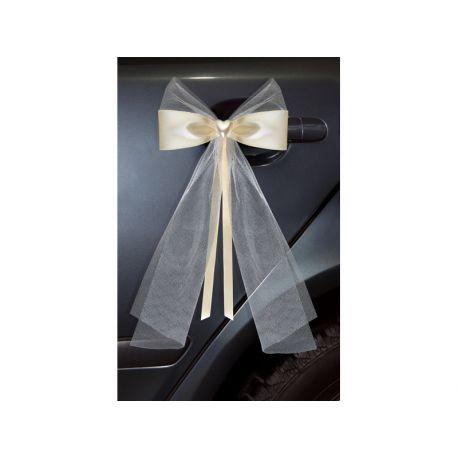 Mašla na svadobné auto - krémová