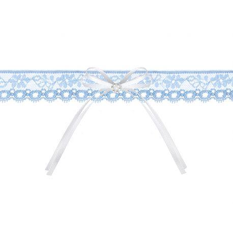 Krajkový podväzok s modrým kamienkom