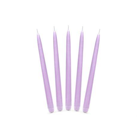 Fialová kónická sviečka matná - 24cm