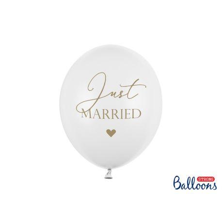 Biely pastelový balón - Just MARRIED