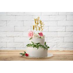 Nápis na tortu Mr & Mrs - Cake topper - zlatý