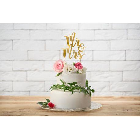 Nápis na tortu Mr & Mrs - Cake topper -zlatý
