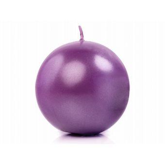 Sviečka guľa fialová metalická / Svadobná výzdoba