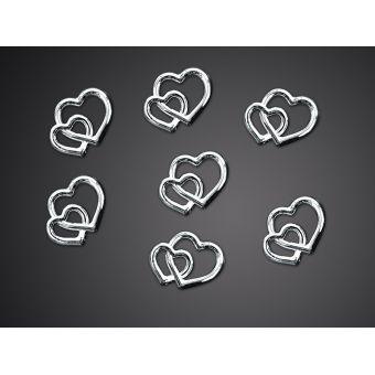 Ozdobné kamienky - strieborné srdcia