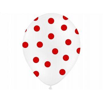 Balón s bodkami Pastel - biela a červená farba