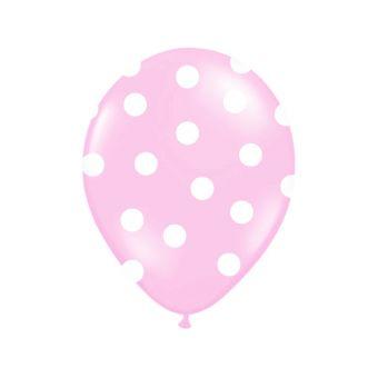 Ružový balón s bielymi bodkami