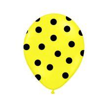 Balón Pastel žltý - čierne bodky