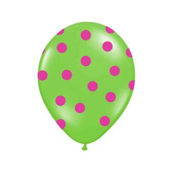 Zelený balón s ružovými bodkami