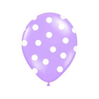 Fialový balón s bielymi bodkami
