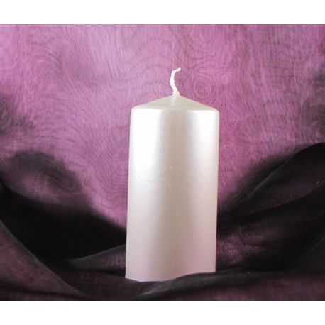 Biela sviečka valec - perleťová 50/100