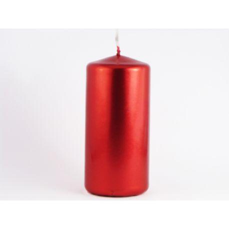 Červená sviečka valec - metalická 50/100