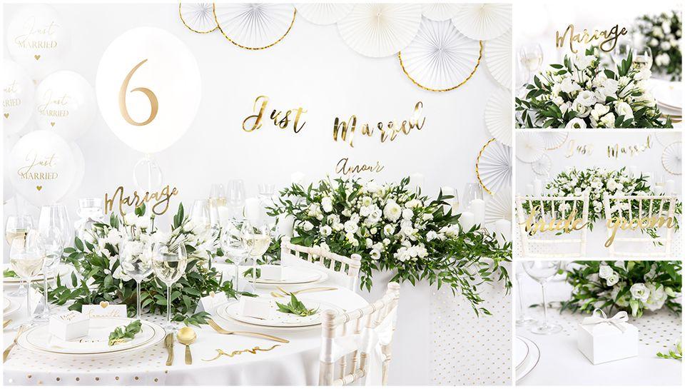 Biela a zlatá svadobná výzdoba